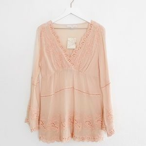 Boston Proper Lace Embroidered Tunic